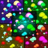 Fungal pattern color set. Stock Photos