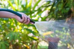Fungera bevattna trädgården från slangen Arkivfoton