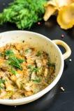 Funghi al forno casalinghi del galletto in padella isolata Fotografia Stock