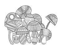 Funghi con i modelli Illustrazione in bianco e nero per il libro da colorare, pagina Fotografia Stock Libera da Diritti