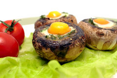 Funghi con le uova del ` s delle quaglie Fotografia Stock