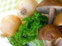 Funghi del Bolete con la cipolla ed il prezzemolo Fotografia Stock Libera da Diritti
