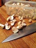 Funghi di bottone tagliati Fotografia Stock