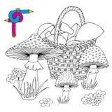 Funghi di immagine di coloritura Illustrazione Vettoriale