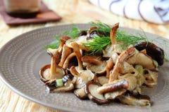 Funghi di shiitake fritti su un piatto fotografia stock
