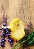 Funghi dorati del galletto con il fiore prudente Immagini Stock Libere da Diritti
