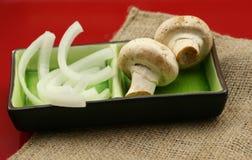 Funghi e cipolle Immagini Stock