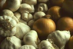 Funghi e cipolle dell'aglio in un mucchio Fotografia Stock Libera da Diritti