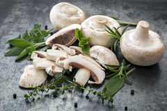 Funghi e fondo dell'alimento delle erbe Fotografie Stock Libere da Diritti