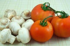 Funghi e pomodori Fotografia Stock Libera da Diritti
