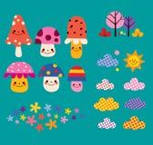 Funghi, fiori, nuvole, insieme di elementi di progettazione della natura illustrazione vettoriale