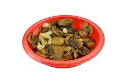 Funghi fritti in un piatto Fotografia Stock Libera da Diritti