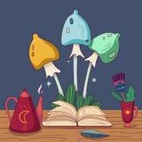 Funghi leggiadramente variopinti Libro di favola, teiera, penna di spoletta e tazza con il fiore sulla tavola di legno Scarabocch illustrazione vettoriale
