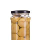 Funghi marinati in barattolo di vetro Immagini Stock Libere da Diritti