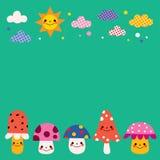 Funghi, nuvole, illustrazione del fondo della natura del sole Immagini Stock