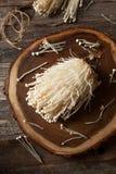 Funghi organici crudi di Enoki Fotografie Stock