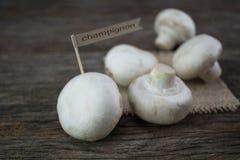 Funghi organici freschi del fungo prataiolo su fondo di legno Fotografia Stock Libera da Diritti