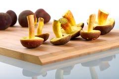 Funghi per la cottura della fine in su Fotografia Stock