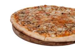 Funghi pizza on the wooden board Stock Images