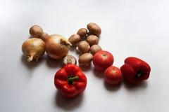 Funghi prataioli, cipolle, pomodori e peperoni immagine stock libera da diritti