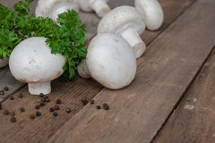 Funghi prataioli e prezzemolo freschi Fotografia Stock Libera da Diritti