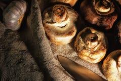 Funghi selvaggi freschi che si trovano sulla tavola nella borsa Fotografia Stock
