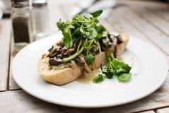 Funghi su pane tostato Immagine Stock Libera da Diritti