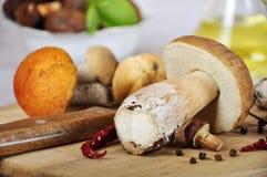 Funghi su una scheda di taglio di legno Fotografia Stock Libera da Diritti