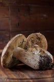 Funghi su una scheda di taglio di legno Fotografie Stock Libere da Diritti