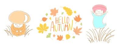 Funghi svegli di autunno con le foglie e la citazione illustrazione di stock