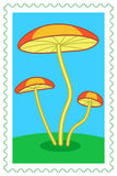 Fungi on stamp Royalty Free Stock Images