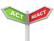 Fungieren Sie oder reagieren Sie Stockbild
