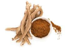 Fungo di ganoderma lucidum e polvere asciutti di reishi in ciotola fotografia stock