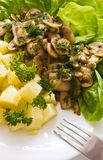 Fungo ed insalata della patata Fotografie Stock