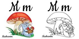 Fungo Lettera m., pagina di coloritura di alfabeto di vettore Illustrazione Vettoriale