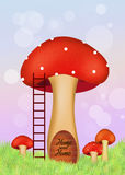 Fungus home. Illustration of fungus home in the forest Royalty Free Stock Images