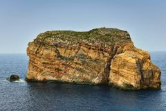 Fungus rock Gozo island Malta. Fungus Rock, known as the General`s Rock, is a 60 meters high islet at the entrance to the Dwajra Bay, on the coast of Gozo, Malta Stock Photos
