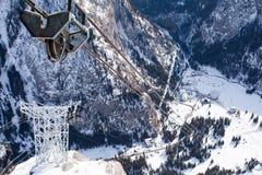 Funicolare alla cima del ghiacciaio di Marmolada Fotografia Stock Libera da Diritti