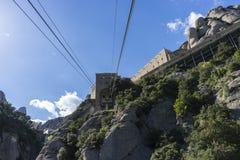Funicolare, cabina di funivia di Montserrat Monastery a Barcellona, C fotografia stock