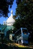 Funicolare di Montmartre sotto il Sacre Coeur Fotografia Stock