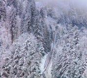 Funicolare nelle alpi svizzere nell'inverno Fotografia Stock