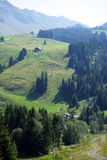 Funiculair. Valley with funiculair near Sorenberg in mountain area of Switzerland stock photo