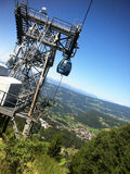 Funiculaire au-dessus d'Alpe di Siusi, Italie Image libre de droits