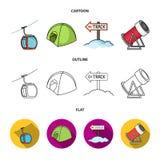 Funiculaire, tente, panneau routier, canon de neige Icônes réglées de collection de station de sports d'hiver dans la bande dessi Image libre de droits