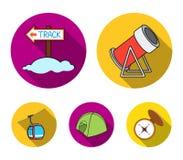 Funiculaire, tente, panneau routier, canon de neige Les icônes réglées de collection de station de sports d'hiver dans le style p Image stock