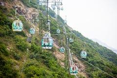 Funiculaires au-dessus des arbres tropicaux en Hong Kong Photographie stock libre de droits