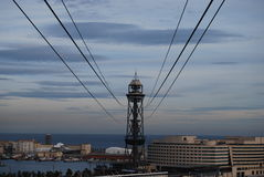Funicular επάνω από το λιμένα της Βαρκελώνης Στοκ εικόνα με δικαίωμα ελεύθερης χρήσης