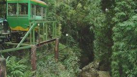 Funicular μεταξύ των πράσινων δέντρων φιλμ μικρού μήκους