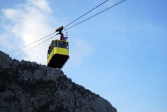 Funicular. Yellow funicular in the mountains. Crimea Stock Image