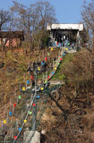 Funicular. Colorful funicular on a hill with trees Royalty Free Stock Photography
